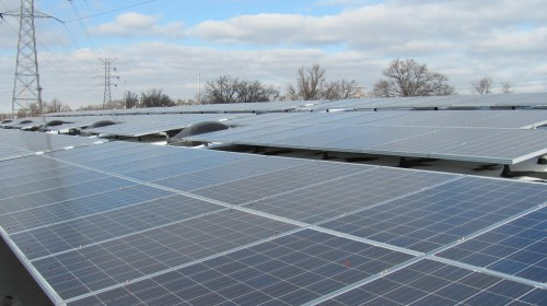 This is a array of solar panels installed for Recto-molded products